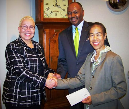 Sigrid E. Lundby, chairperson, BNY Mellon Mid-Atlantic Charitable Trust (left); Gregory L. Lyles, area development director, UNCF (center); and Renetta E. Holloway, development director, UNCF (right).