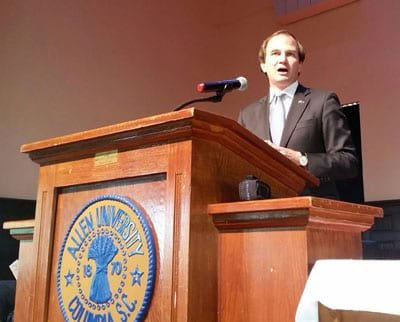 Assistant U.S. Attorney Jay Richardson, who prosecuted Dylann Roof in federal court, was the guest speaker at the Mother Emanuel Nine Day Remembrance at Allen University on June 1.​