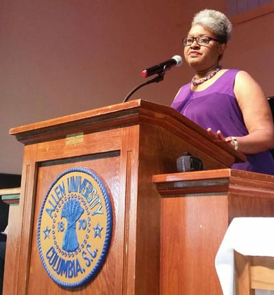 District 70 state Rep. Wendy Brawley was among the speakers at the Mother Emanuel Nine Day Remembrance at Allen University on June 1.​​