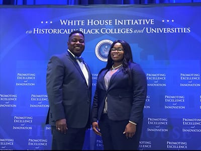 Voorhees President Evans and Miss Voorhees College, Terrianna Mccullough